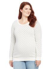 Plus Size Polka Dot Maternity Sweater, White/Grey Dot Print