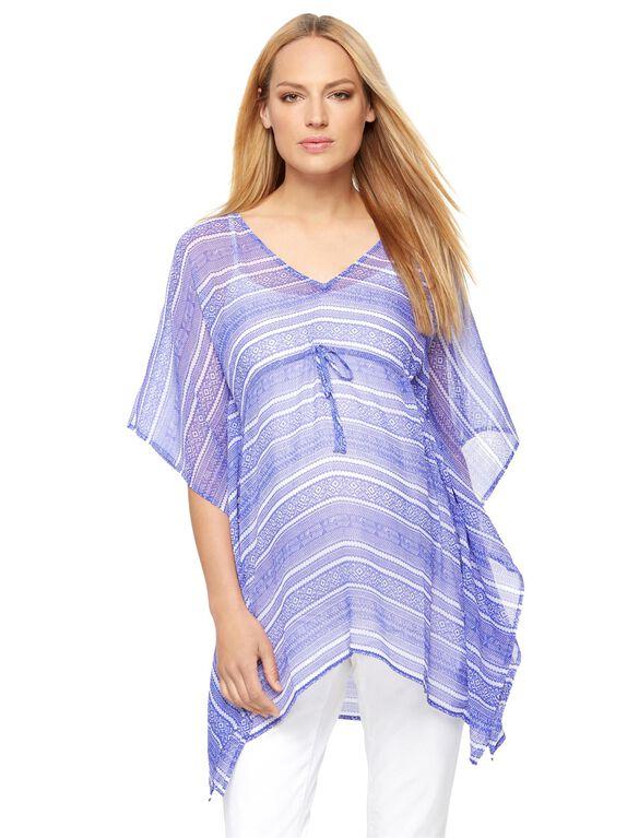 Caftan Maternity Kimono, Blue/White Print