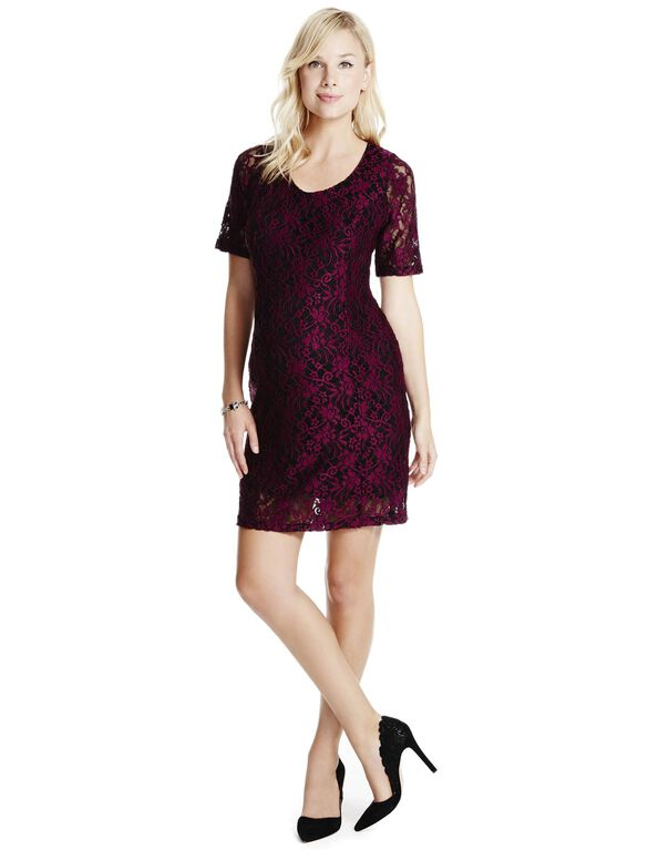 Jessica Simpson Lace Maternity Dress, Burgandy/Black