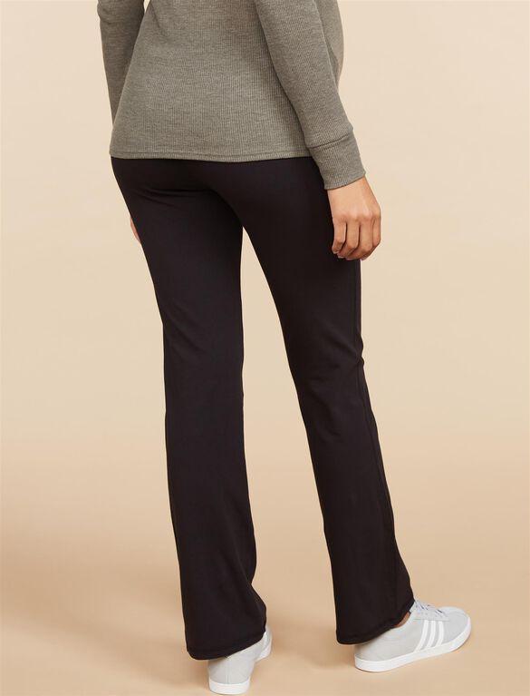 Foldover Belly Boot Cut Maternity Yoga Pants, Black