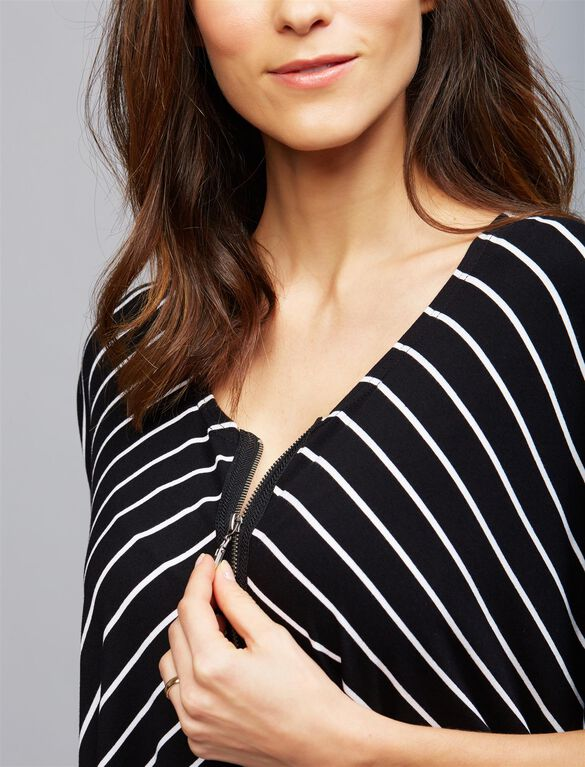 Ripe Pull Over Zip Front Nursing Top, BLACK WHITE STRIPE