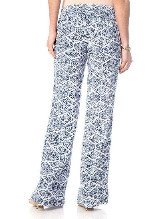 Pull On Style Challis Wide Leg Maternity Pants, Navy Print