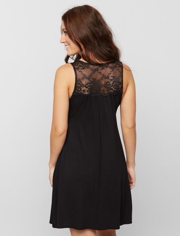 Lace Detail Nursing Nightgown- Black, Black