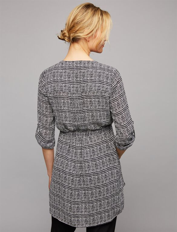 Daniel Rainn Convertible Sleeve Maternity Tunic, Black Print
