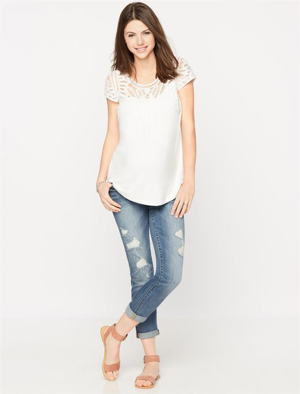 Daniel Rainn Button Detail Maternity T Shirt, Soft White