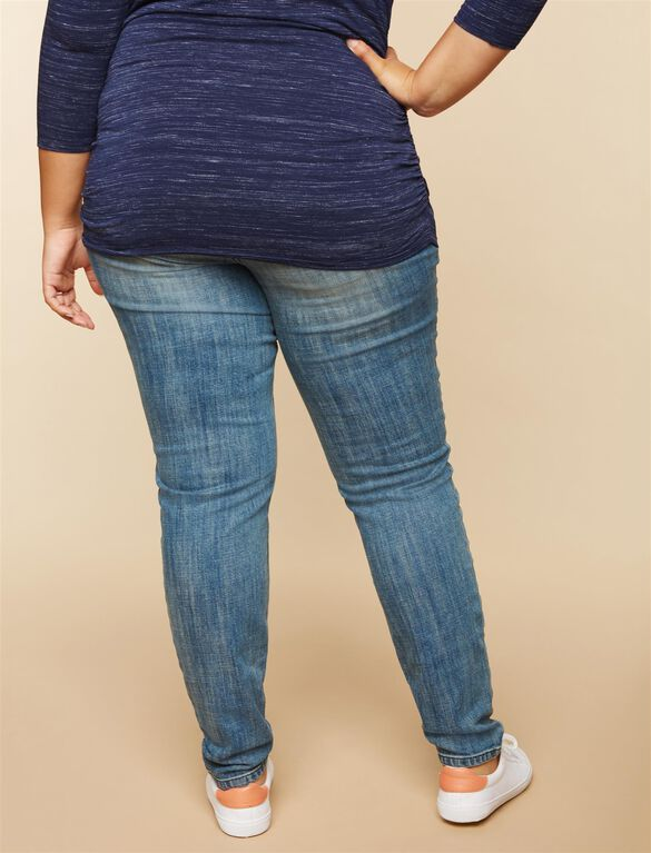 Plus Size Secret Fit Belly Destructed Maternity Jeans, MEDIUM WASH