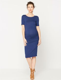 Isabella Oliver Maternity T-shirt Dress- Solid, Rich Navy