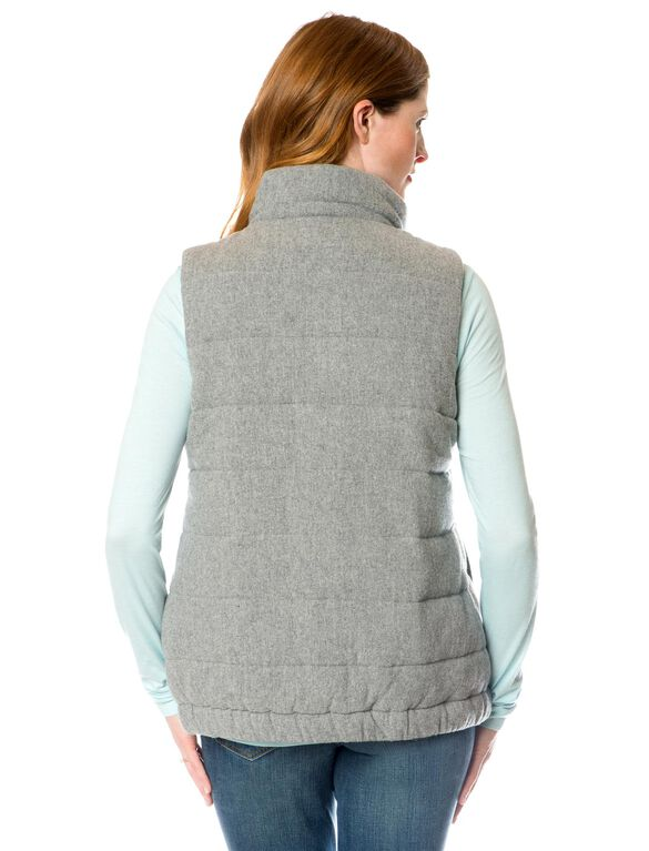 Quilted Puffer Maternity Vest, Charcoal