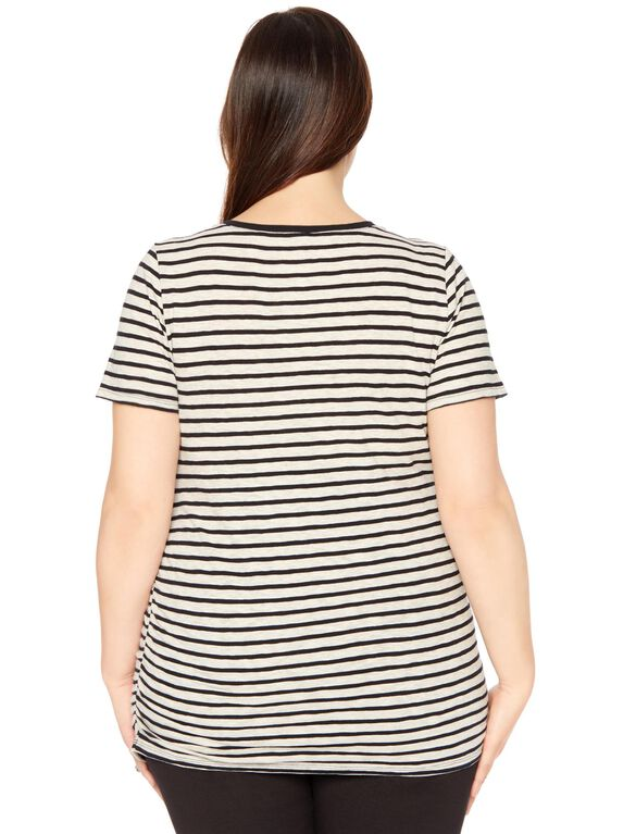 Plus Size Side Ruched Maternity T Shirt, Oat/Black Striped