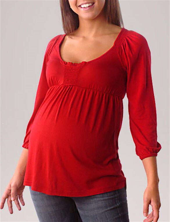 Splendid Smocked Maternity T Shirt, Vanilla