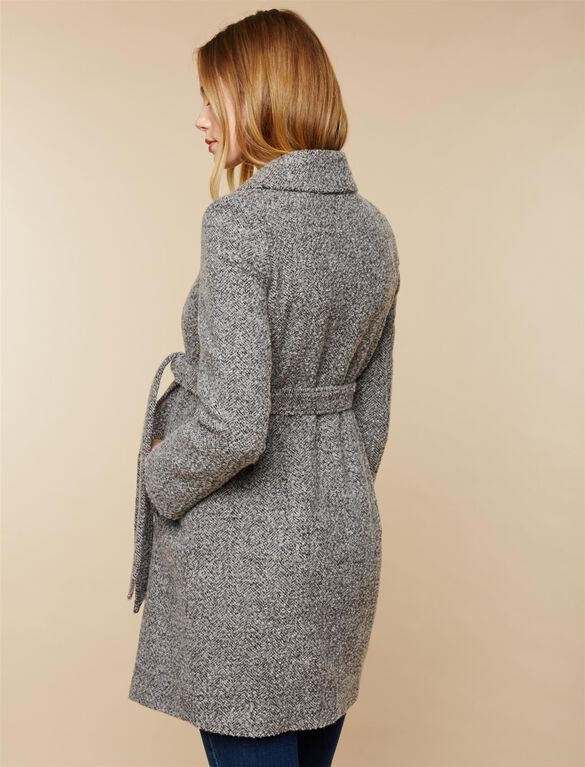 Removable Waist Tie Wool Maternity Coat, GREY