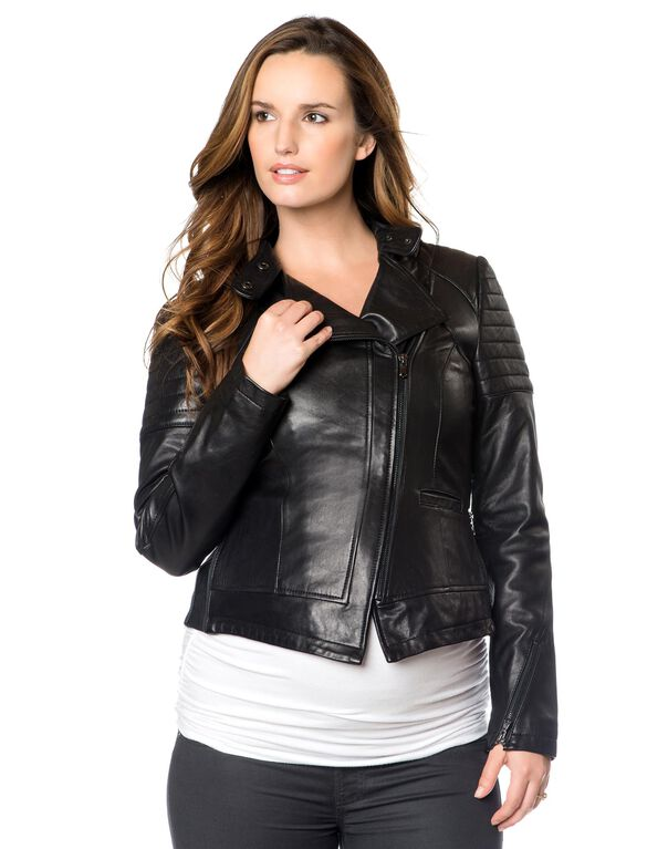 Zip Front Leather Maternity Jacket, Black Leather