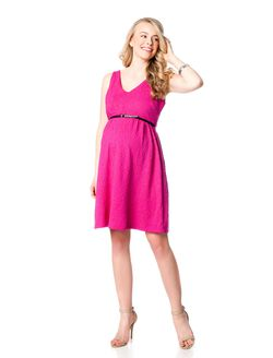 Belted Maternity Dress, Pink