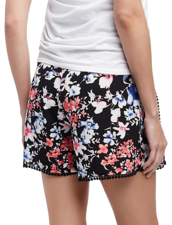 Secret Fit Belly Crochet Detail Maternity Shorts, Black Floral