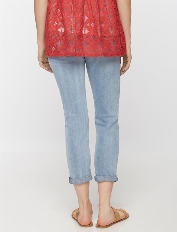7 For All Mankind Secret Fit Belly Josephina Destructed Maternity Boyfriend Jeans, Light Wash