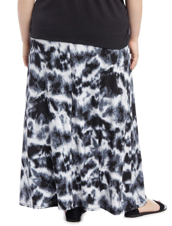 Plus Size Fold Over Belly Lightweight Maternity Skirt, Tye Dye