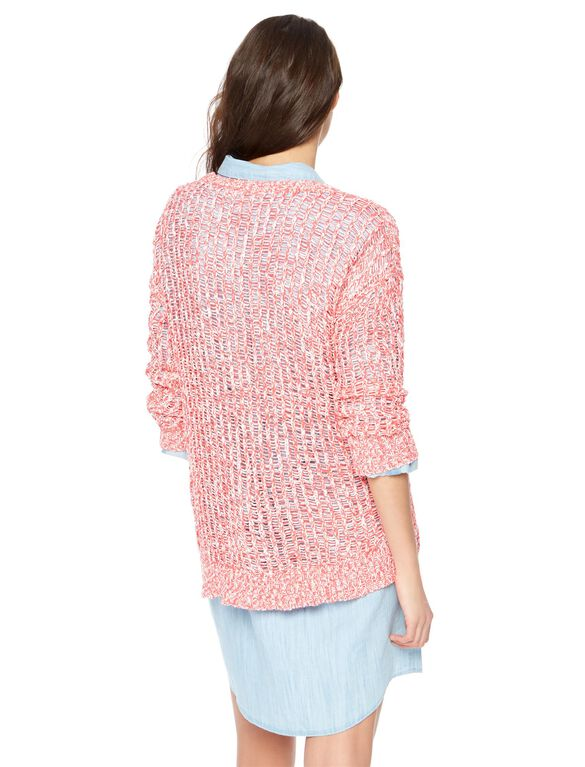 Loose Knit Maternity Sweater, Red Heart