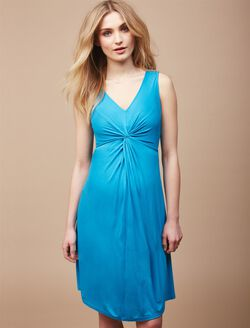 Knot Front Maternity Dress, Blue Jay