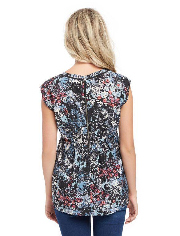 Back Zip Peplum Maternity Top- Black/White Geo, Floral Print