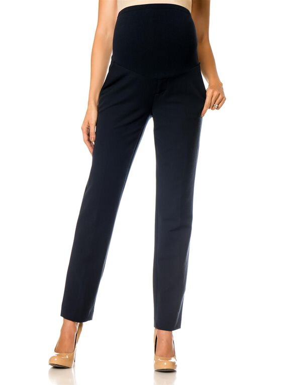 Secret Fit Belly Cotton Woven Fit And Flare Maternity Pants, Coastal Navy