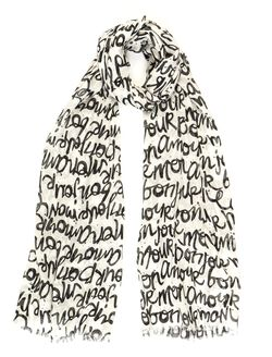 Conversational Print Scarf By Bindya Accessories, Blk/White