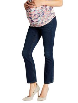Jessica Simpson Secret Fit Belly Boot Cut Maternity Crop Jeans, Dark Wash