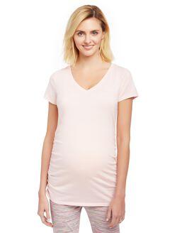 V-neck Side Ruched Maternity Tee, Rose Quartz
