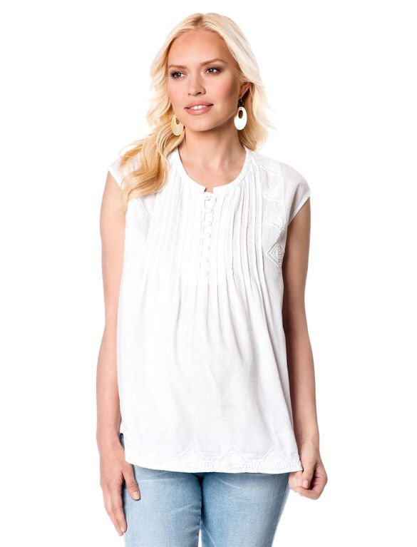 Cap Sleeve Embroidered Maternity Blouse, White