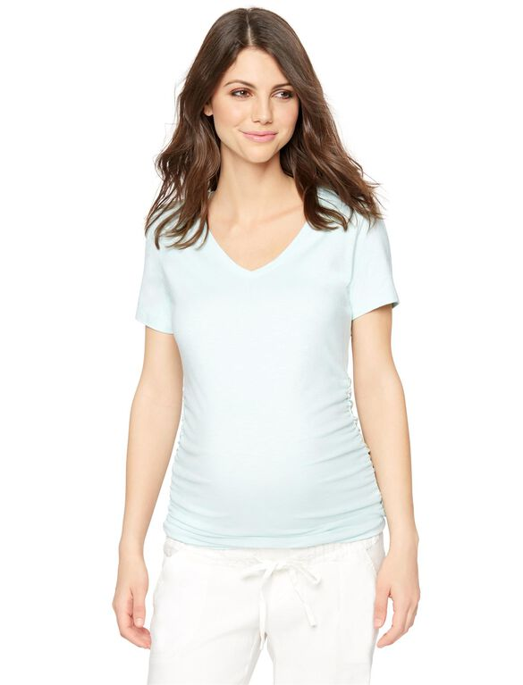 V-neck Side Ruched Maternity Tee, Tropical Mist