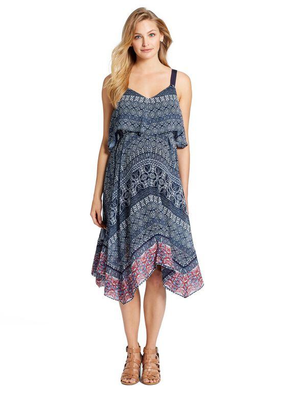 Jessica Simpson Hanky Hem Maternity Dress, Border Print