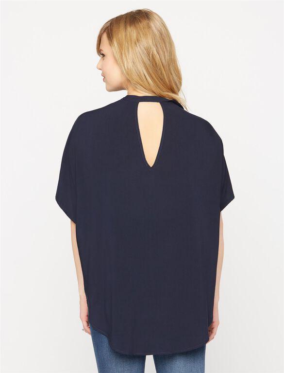 Splendid Back Interest Maternity Shirt, Navy