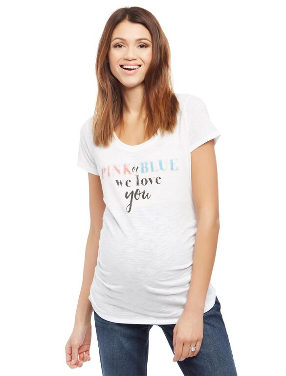 Pink Or Blue We Love You Maternity Tee, White