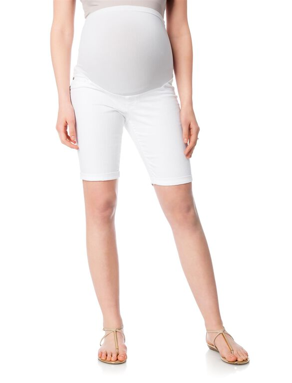 Secret Fit Belly Twill Maternity Bermuda Shorts, White