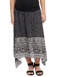 Secret Fit Belly Hanky Hem Maternity Skirt, Blk/Wht Paisley