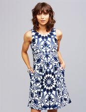 Taylor A-line Maternity Dress, Tile Print