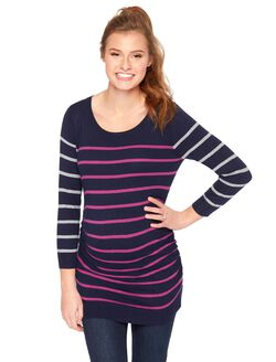 Striped Side Ruched Maternity Sweater, Navy/Purple