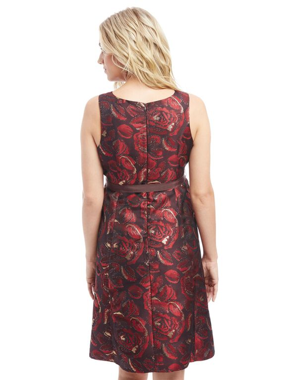 Brocade Floral Maternity Dress, Red Floral