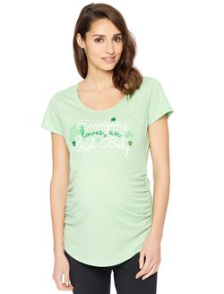Side Ruched Short Sleeve Maternity Graphic Tee, Green