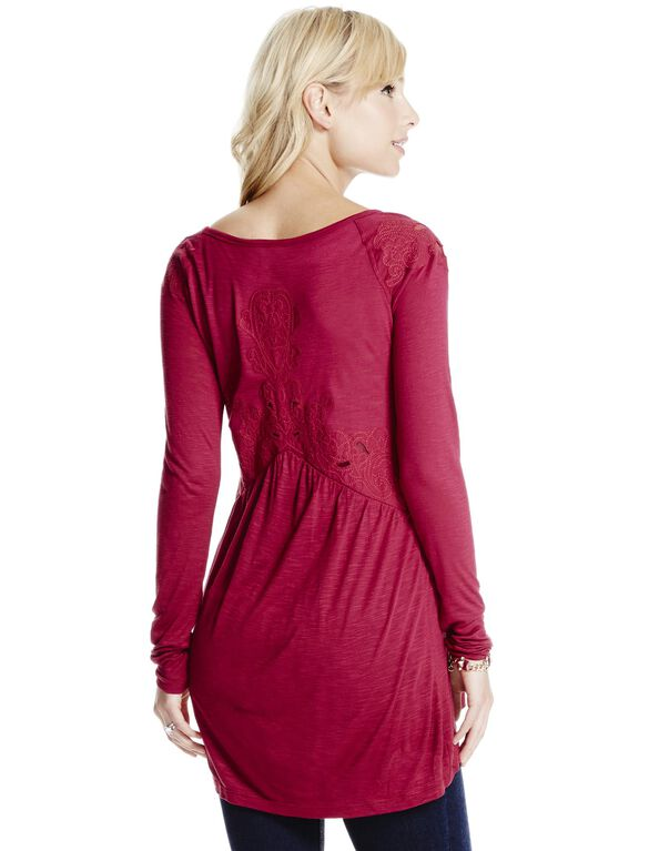 Jessica Simpson Embroidered Maternity Top, Wine