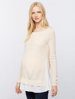 Design History Back Interest Maternity Sweater, Pink