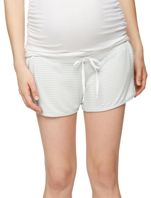 Pull On Style Maternity Shorts, Seafoam Stripe