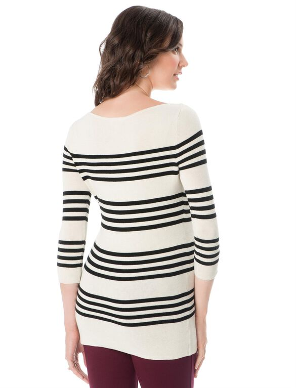 Striped Maternity Sweater, Black/White