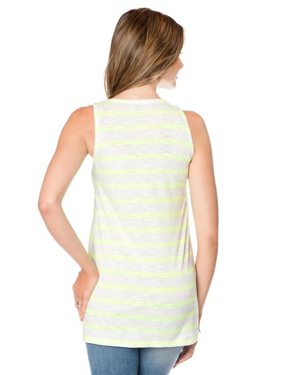 Isabella Oliver Knit Maternity Tank Top, Neon Yellow Stripe