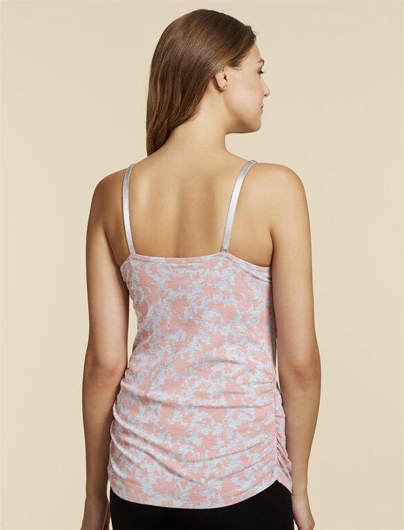 Jessica Simpson Clip Down Shelf Bra Nursing Cami- Pink/Grey Floral, Pink Grey Floral