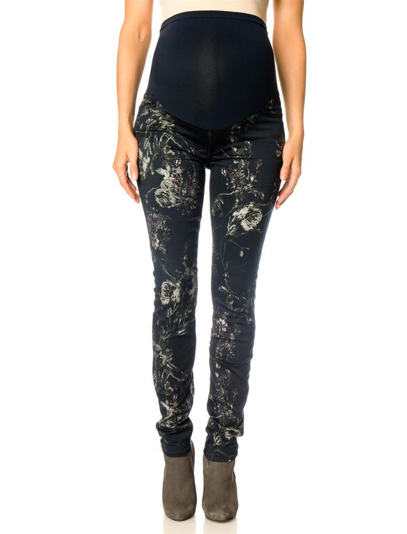 7 For All Mankind Secret Fit Belly Skinny Leg Maternity Pants, Mystic Floral Print