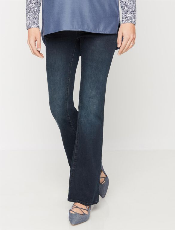 Luxe Essentials Denim Secret Fit Belly Boot Cut Maternity Jeans, Dark Wash