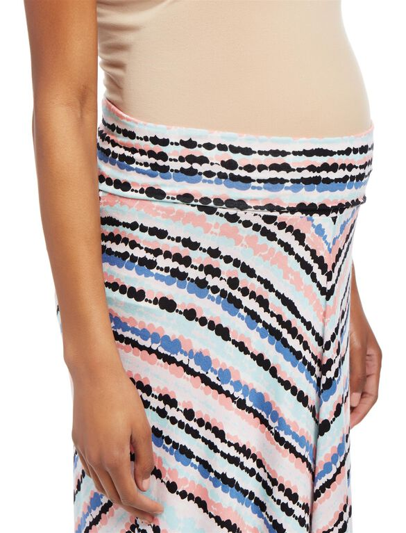 Fold Over Belly Maternity Maxi Skirt- Bubble Print, Bubble Print