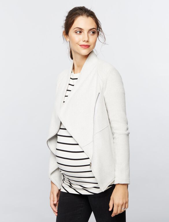 BB Dakota Open Front Fleece Maternity Jacket, Light-mid Grey