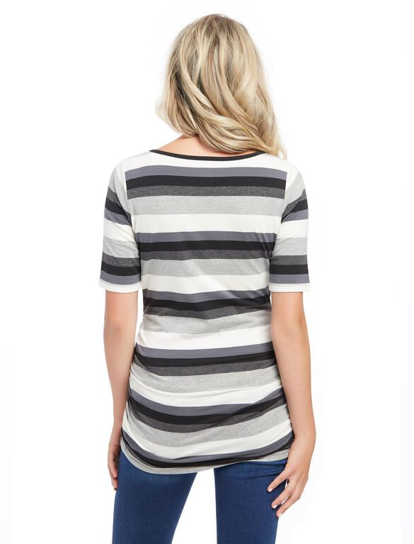 Elbow Sleeve Side Ruched Maternity Tee- Stripe, Multi Stripe