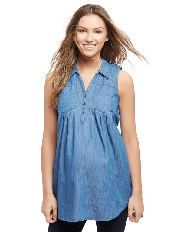 Sleeveless Two Pocket Maternity Tunic- Chambray, Chambray